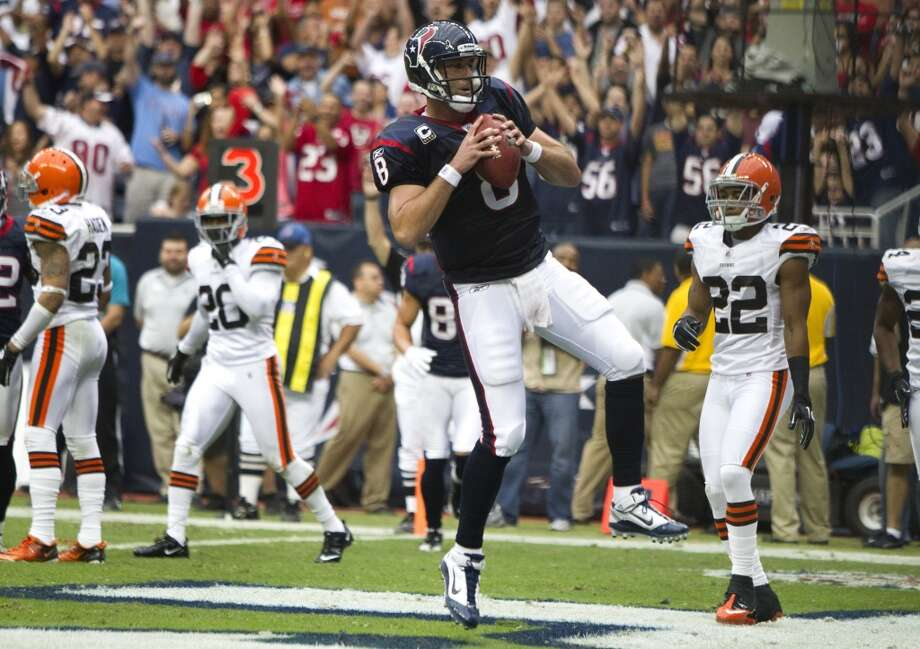 Matt Schaub threw for 2,479 yards, 15 touchdowns and six interceptions before his foot injury sidelined him for the rest of the year. Photo: Brett Coomer, Houston Chronicle