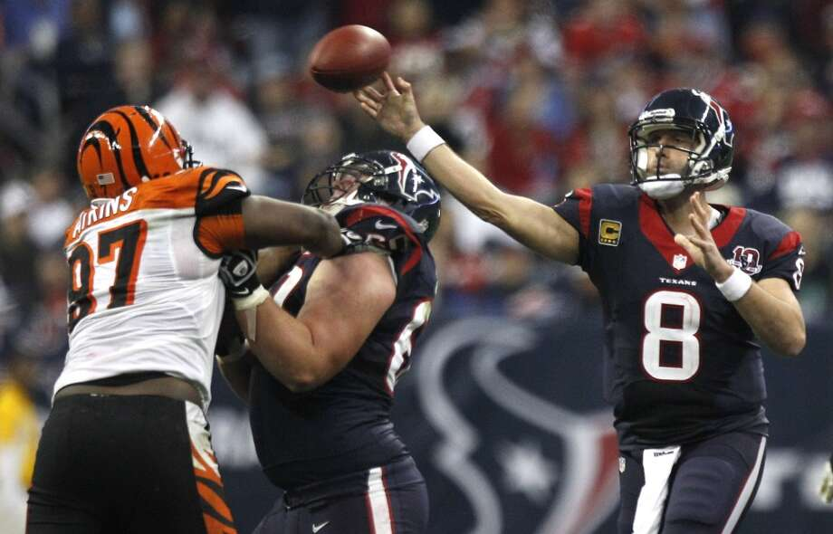 On Jan. 5, 2013, Matt Schaub earned his first playoff victory, and the second in Texans franchise history. He threw for 262 yards and one interception in the 19-13 victory. Photo: Brett Coomer, Houston Chronicle