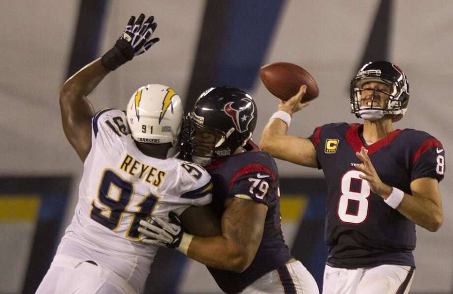 The Texans narrowly avoided disaster to begin the 2013 season. Matt Schaub threw an interception on Houston's first play and eventually had a 21-point deficit against the Chargers. The Texans managed to rally in the second half and win 31-28. Photo: Brett Coomer, Houston Chronicle