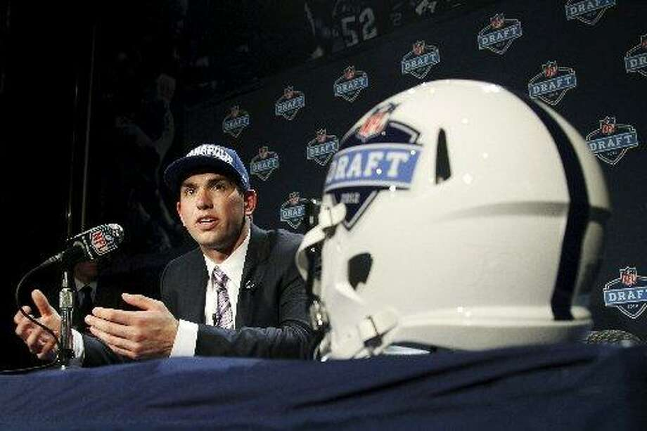 The spotlight was on Andrew Luck at the draft. Photo: AP