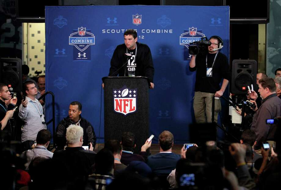 Stanford quarterback Andrew Luck answers a question during a news conference at the NFL football scouting combine in Indianapolis, Friday, Feb. 24, 2012. (AP Photo/Michael Conroy) Photo: Michael Conroy, Associated Press / AP