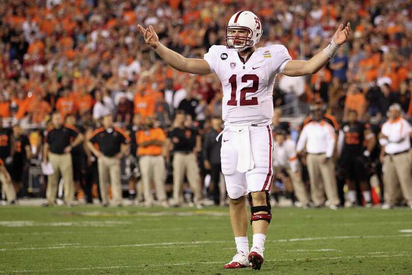 GLENDALE, AZ - JANUARY 02:  Andrew Luck #12 of the Stanford Cardinal reacts against the Oklahoma Sta