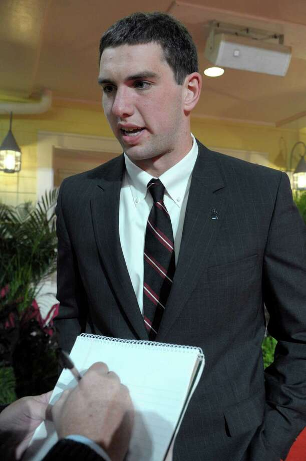 Stanford quarterback Andrew Luck answers questions from a reporter at the Home Depot ESPNU College Football Awards in Lake Buena Vista, Fla., Thursday, Dec. 9, 2010.(AP Photo/Phelan M. Ebenhack) Photo: Phelan M. Ebenhack, ASSOCIATED PRESS / AP2010