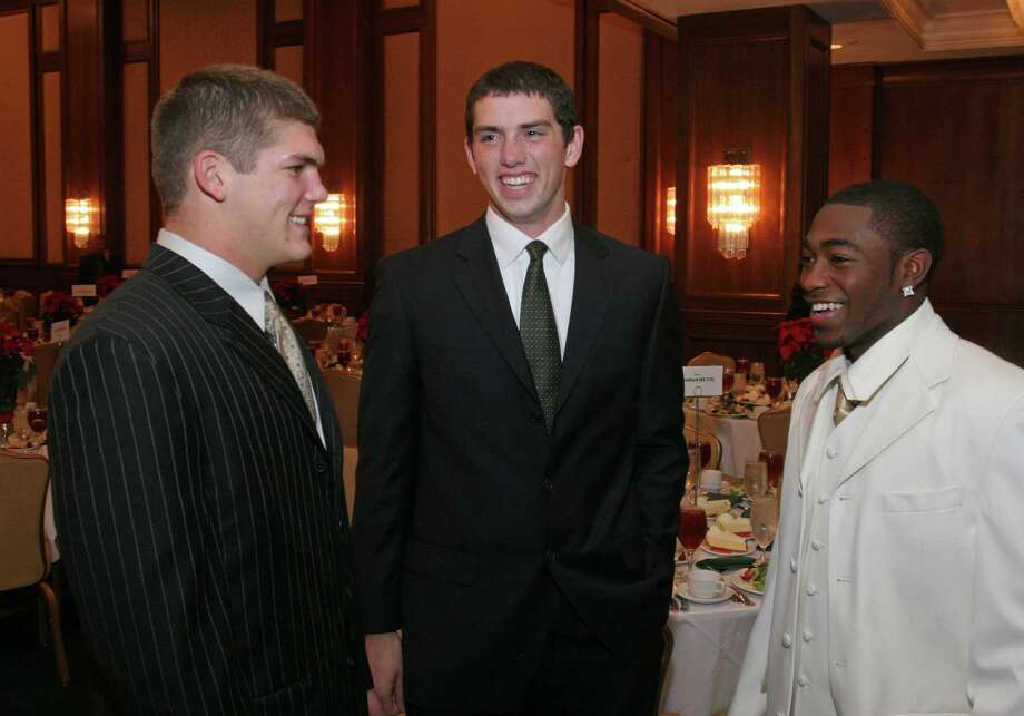 (For the Chronicle/Gary Fountain, December 5, 2007)Linebacker Will Ebner, of Friendswood, from left, QB Andrew Luck of Stratford, and Angleton running back  D.J. Monroe, before the C.E.P. Sorbents High School Awards Dinner at the J.W. Marriott at 5150 Westheimer. Ebner is a finalist for the defensive award. Luck and Monroe are offensive finalists. Photo: Gary Fountain, For The Chronicle / Freelance