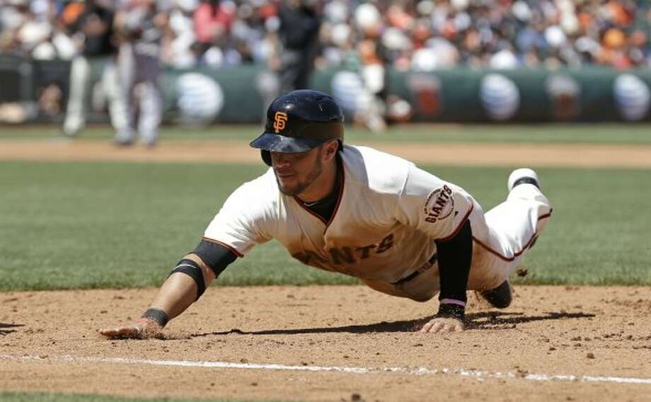 Biggest bummer:  Gregor Blanco wishes he could hit like Madison Bumgarner. Photo: Associated Press