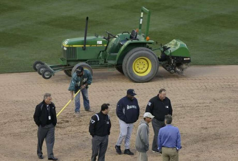 Most forgettable moment:A Coliseum rainout sans rain Photo: Jeff Chiu, Associated Press