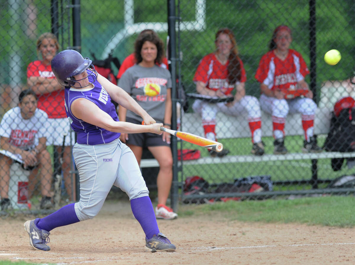 Sadie-Rose Apfel of Westhill hits a home run during the FCIAC girls high school softball quarterfinal game between Greenwich High School and Westhill High School at Greenwich, Tuesday, May 27, 2014. Apfel was also the winning pitcher for Westhill. Westhill defeated Greenwich, 5-1.