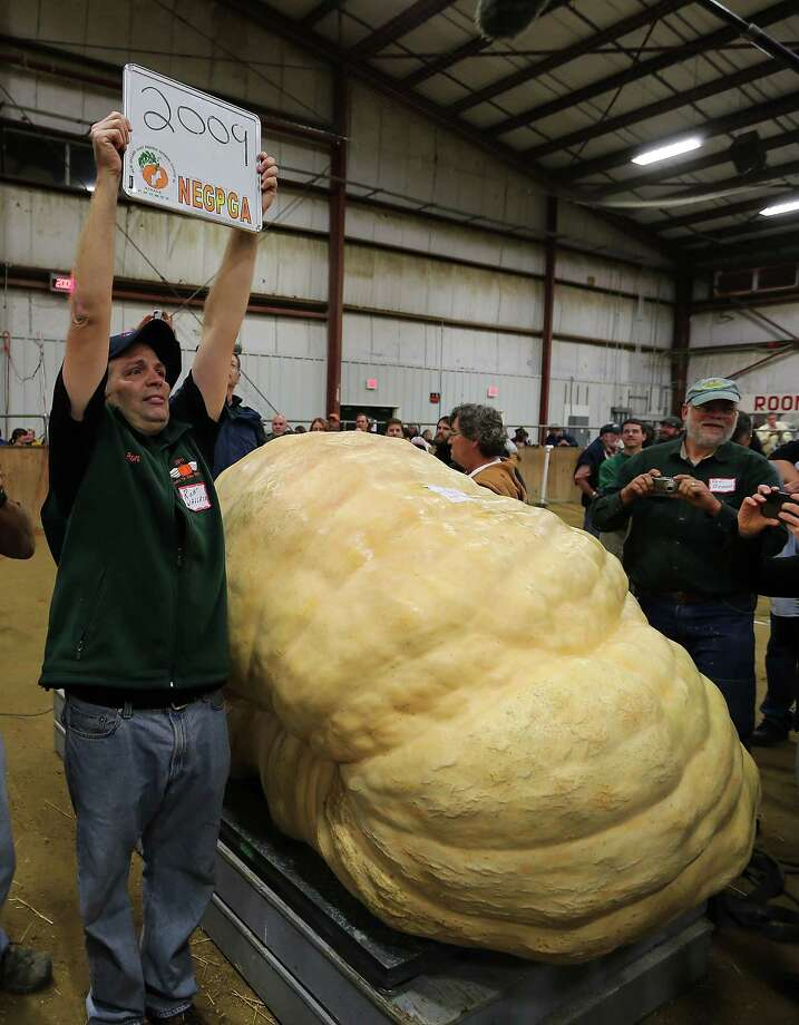 Ron Wallace celebrates with his 2,009-pound record pumpkin, on Sept. 28, 2012, in Topsfield, Mass. The farmer's pumpkin is the world's first one-ton pumpkin, shattering the previous record by a whopping 165.5 pounds. Photo: Barcroft Media, Barcoft Media Via Getty Images / Barcroft Media