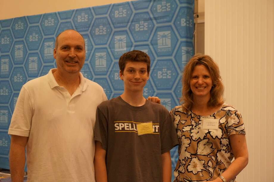 Speller Noah Fitzgerald with his parents, Jeff and Jennifer. Photo: Brianna Gurciullo