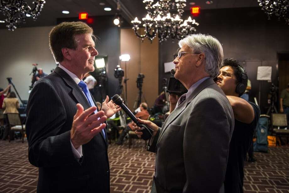 State Sen. Dan Patrick speaks to the media at the site of his election-night watch party before the polls closed in the Republican primary runoff election on Tuesday, May 27, 2014, in Houston.  Patrick faces incumbent Lt. Gov. David Dewhurst in their runoff campaign to claim the Republican spot on the ballot for lieutenant governor in November against Democratic state Sen. Leticia Van de Putte.( Smiley N. Pool / Houston Chronicle ) Photo: Smiley N. Pool, Houston Chronicle