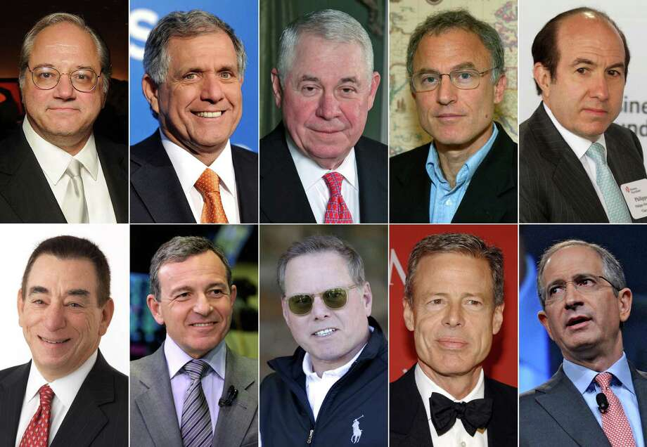 This photo combination shows the 10 highest-paid CEOs of 2013, as calculated by The Associated Press and Equilar, an executive pay research firm. Top row, from left: Anthony Petrello, Nabors Industries, $68.2 million; Leslie Moonves, CBS, $65.6 million; Richard Adkerson, Freeport-McMoRan Copper & Gold, $55.3 million; Stephen Kaufer, TripAdvisor, $39 million; and Philippe Dauman, Viacom, $37.2 million. Bottom row, from left: Leonard Schleifer, Regeneron Pharmaceuticals, $36.3 million; Robert Iger, Walt Disney, $34.3 million; David Zaslav, Discovery Communications, $33.3 million; Jeffrey Bewkes, Time Warner, $32.5 million; and Brian Roberts, Comcast, $31.4 million. (AP Photo) ORG XMIT: NYBZ139 / AP