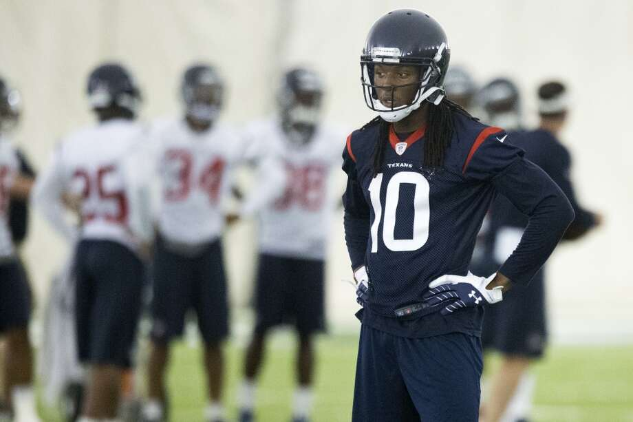 Texans wide receiver DeAndre Hopkins waits for his turn on a drill. Photo: Brett Coomer, Houston Chronicle