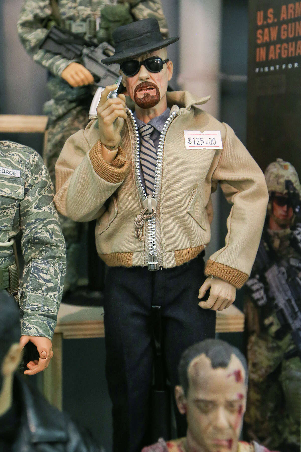 Breaking Bad's Walter White is one of many handmade 1/6 scale action figures for sale by San Antonian Rick Sollers of R.C. Custom Toys at the 2014 Texas Toy Soldier Show at the Menger Hotel on Sunday, May 25, 2014. Photo by Marvin Pfeiffer / EN Communities