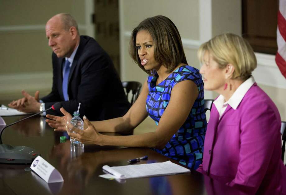 First lady Michelle Obama speaks during a discussion with school leaders and experts surrounding school nutrition at the White House complex. The meeting provided an opportunity for her to hear directly from school districts about the work they are doing to improve school nutrition. Photo: Pablo Martinez Monsivais / Associated Press / AP