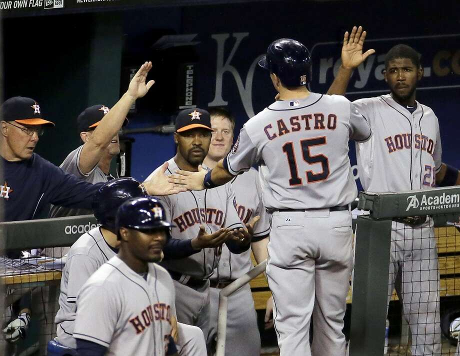 May 27: Astros 3, Royals 0It was all smiles for the Astros as Collin McHugh cruised through the Royals' lineup and the offense provided just enough run support to notch a season-high fourth straight win.  Record: 21-32. Photo: Charlie Riedel, Associated Press