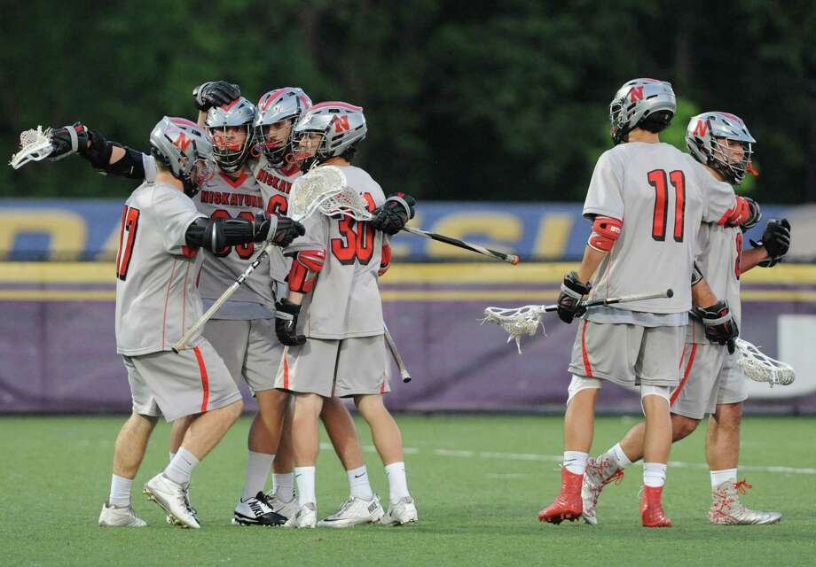Niskayuna's celebrates after scoring during their Section II Class A boys' lacrosse final against Shenendehowa at UAlbany on Tuesday May 27, 2014 in Albany, N.Y. (Michael P. Farrell/Times Union) Photo: Michael P. Farrell / 00027046A