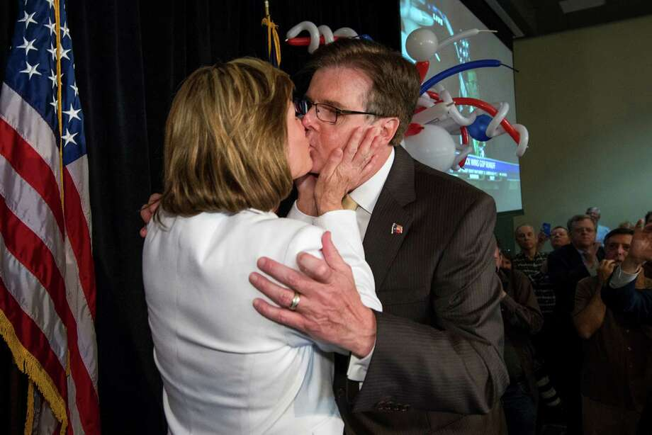 Dan Patrick is congratulated by his wife, Jan, at his election-night watch party in Houston. Patrick trounced incumbent David Dewhurst in a runoff to claim the Republican nomination for lieutenant governor. Photo: Smiley N. Pool, Staff / © 2014  Houston Chronicle