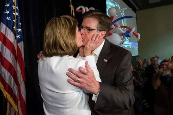 Dan Patrick is congratulated by his wife, Jan, at his election-night watch party in Houston. Patrick trounced incumbent David Dewhurst in a runoff to claim the Republican nomination for lieutenant governor.