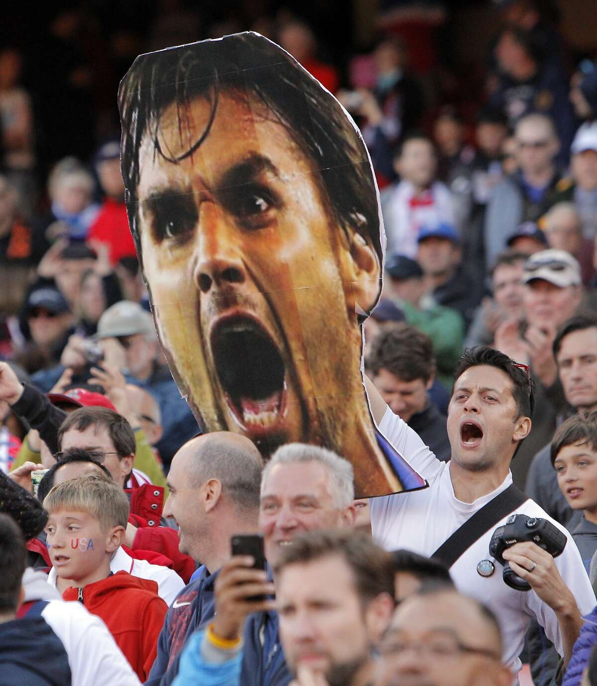 Friends of Chris Wondolowski hold up a giant picture of his head in the stands during the introductions of both teams. The U.S. Men's National Soccer Team played the Azerbaijan Men's National Team at Candlestick Park in an international friendly match on Tuesday, May 27, 2014, in San Francisco, Calif.