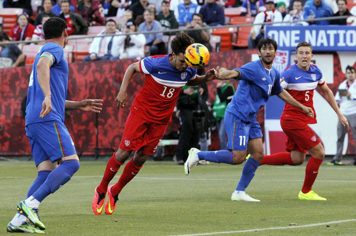Chris Wondolowski deflects the ball with his head for a first-half shot but didn't find the net. Wondolowski came up empty on three first-half chances.