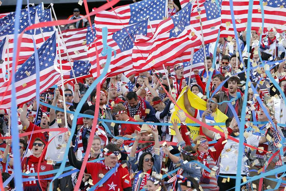 Fans cheer amid streamers and confetti before the start of the U.S.-Azerbaijan international friendly match at Candlestick Park. Photo: Carlos Avila Gonzalez, The Chronicle