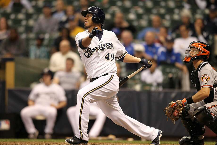 MILWAUKEE, WI - MAY 27: Yovani Gallardo #49 of the Milwaukee Brewers hits a walk off double in the bottom of the eleventh inning against the Baltimore Orioles at Miller Park on May 27, 2014 in Milwaukee, Wisconsin. (Photo by Mike McGinnis/Getty Images) Photo: Mike McGinnis, Getty Images