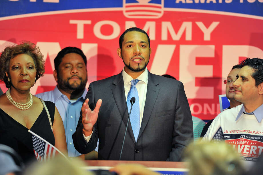 Tommy Calvert is is congratulated and speaks to supporters following his victory over Debra Guerrero for the Democratic nomination for 4th Precinct Commissioner. Photo: For The San Antonio Express-News