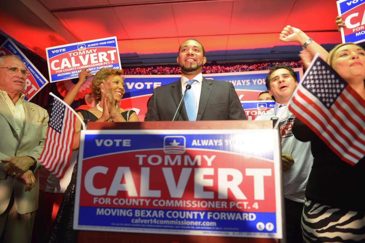 Tommy Calvert is is congratulated and speaks to supporters following his victory over Debra Guerrero for the Democratic nomination for 4th Precinct Commissioner.