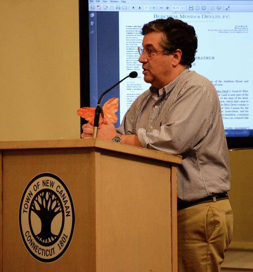 First Selectman Robert Mallozzi explains a new cellphone coverage study to the Town Council at a meeting Wednesday, May 21, 2014, at the New Canaan Nature Center, in New Canaan, Conn. Photo: Nelson Oliveira / New Canaan News