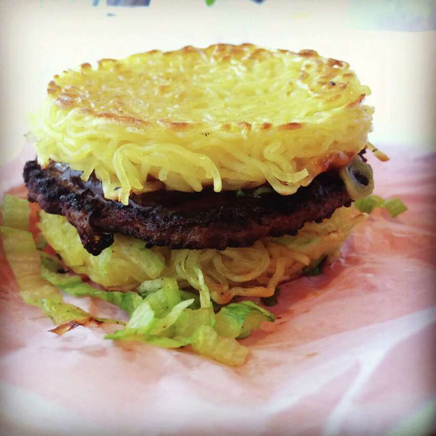 Ramen burger at the L&L Hawaiian BBQ San Antonio