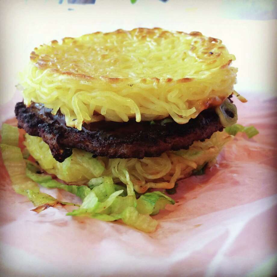 Ramen burger at the L&L Hawaiian BBQ San Antonio Photo: Kolten Parker/San Antonio Express-News