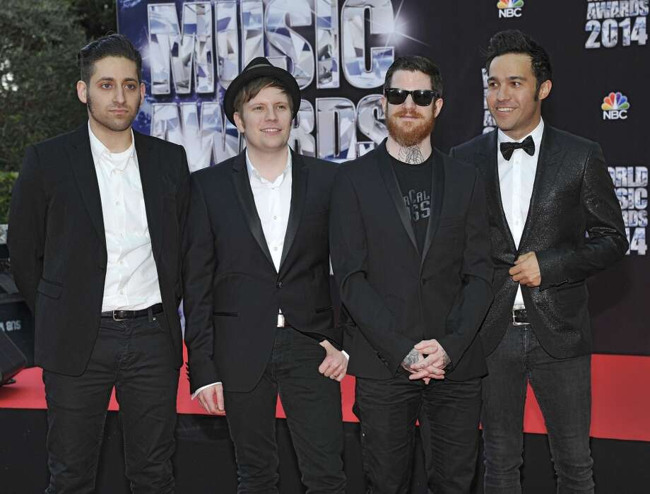 American rock band  Fall Out Boy, with left to right, Joe Trohman, Patrick Stump, Andy Hurley and Pete Wentz, pose as they arrive for the World Music Awards in Monaco, Tuesday, May 27, 2014. Photo: Bruno Bebert, Associated Press