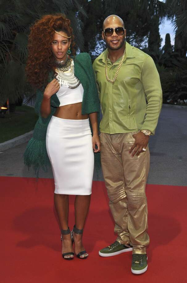 Singer Natalie La Rose and american rapper Flo Rida pose as they arrive for the World Music Awards in Monaco, Tuesday, May 27, 2014. Photo: Bruno Bebert, Associated Press