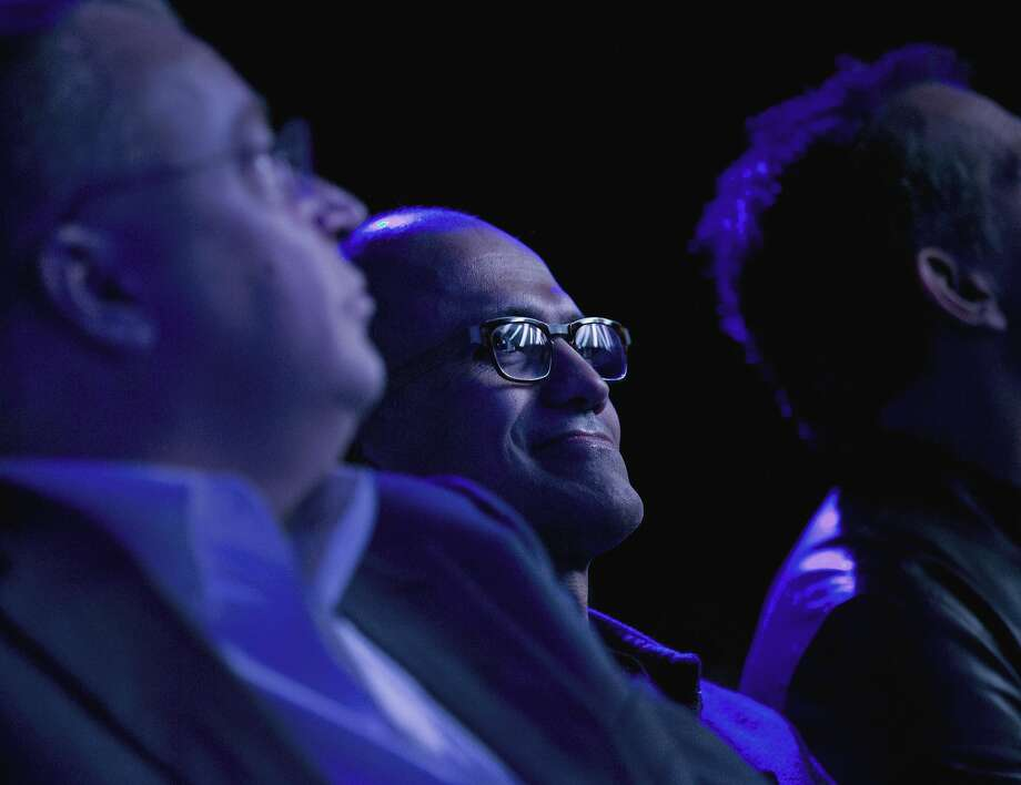Microsoft CEO Satya Nadella watches the unveiling of the Surface Pro in New York last week. He discussed new products this week in Southern California. Photo: Jin Lee, Bloomberg