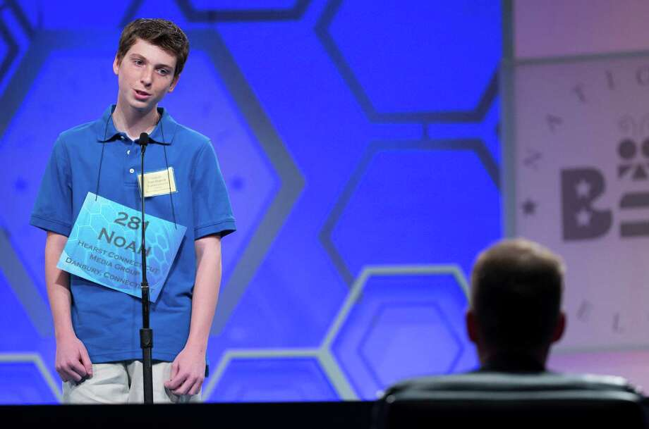 "Noah Fitzgerald, of Ridgefield, Conn., spells the word ""keest"" correctly during the preliminary round of the National Spelling Bee, on Wednesday, May 28, 2014, in Oxon Hill, Md. Photo: Evan Vucci, AP Photo/ Evan Vucci / Associated Press"