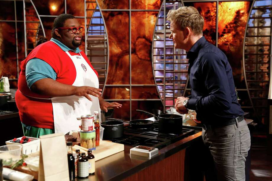 "Willie Mike, left, 25, is grilled by host Gordon Ramsay on the season premiere of ""MasterChef."" Photo: Greg Gayne / ONLINE_YES"