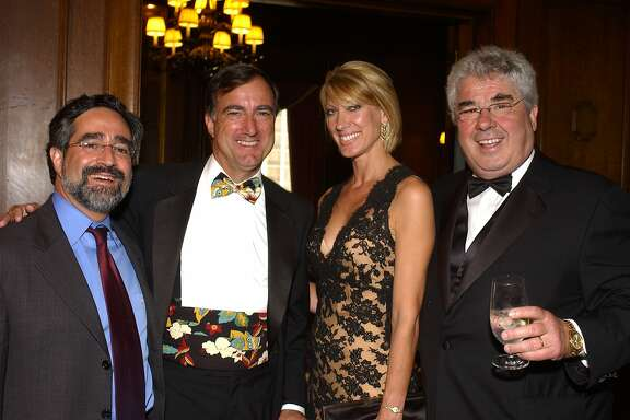 (left to right): Aaron Peskin, SFMHS executive director Jim Lazarus, Janet Reilly and North Beach Restauranteur Lorenzo Petroni. San Francisco Museum & Historical Society Gala Awards Dinner and Auction St. Francis Hotel September 21st, 2004.   Ran on: 10-17-2004