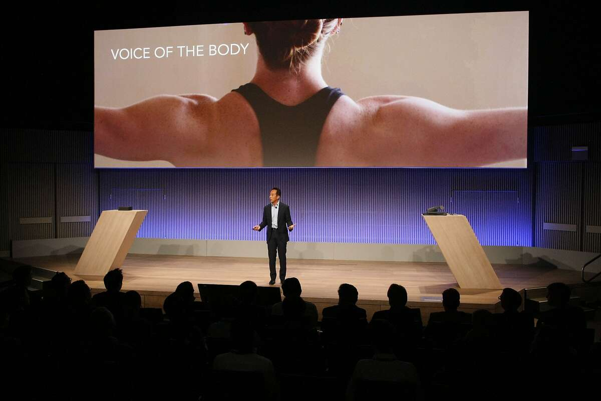 Samsung President and Chief Strategy Officer Young Sohn unveils the new Simband at the SF JAZZ Center in San Francisco, Calif. on Wednesday, May 28, 2014. Samsung announced a wristband that would enable users to monitor their health more closely.