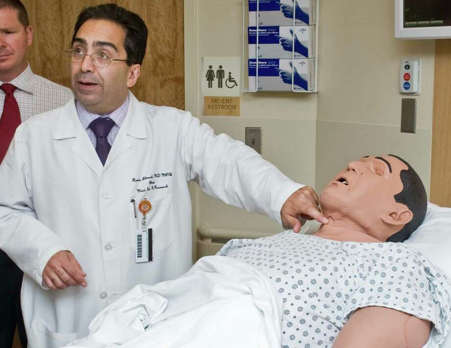 Dr. Ramin Ahmadi, Chair of Medical Education and Research, discusses the use of mannequins in the Harold A. Spratt Center for Simulation and Clinical Learning at Danbury Hospital. Tuesday, May 27, 2014 Photo: Scott Mullin / The News-Times Freelance
