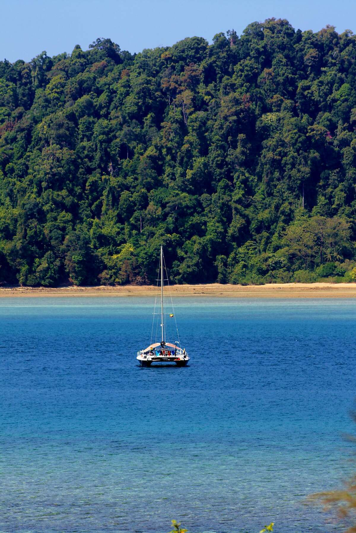 The yacht Simile at anchor in the Myeik Archipelago, southern Burma.