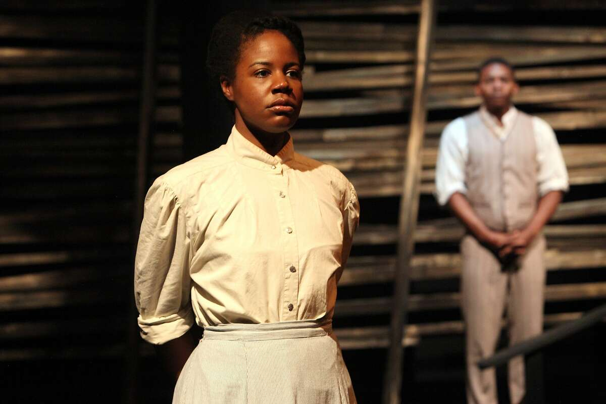 """Ruby (Tangela Large) and Jacob (Eddie Ray Jackson) in Christina Anderson's """"Pen/Man/Ship"""" at Magic Theatre"""