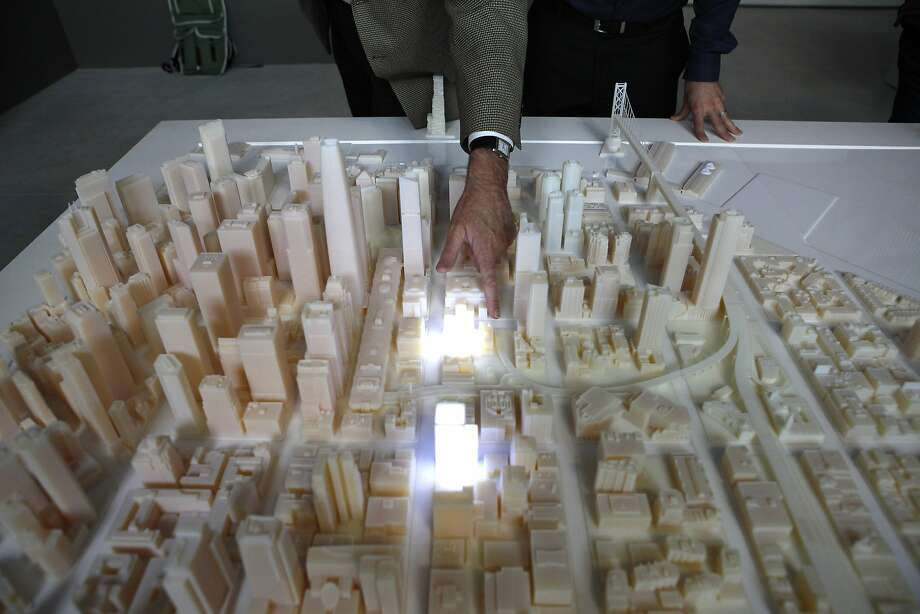 A 3-D-printed scale model shows S.F.'s skyline of 2017 with the in-progress towers in place. Photo: Michael Short, The Chronicle
