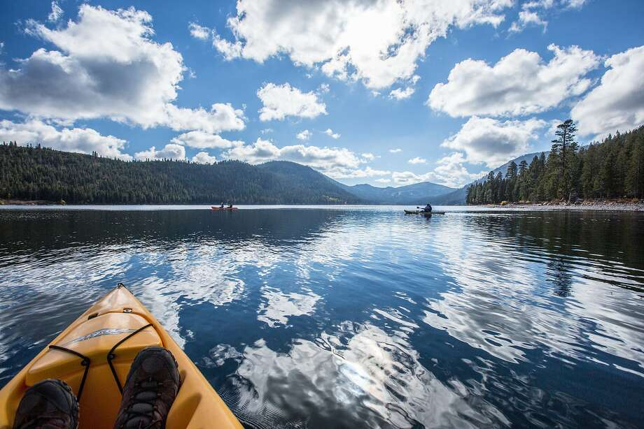 The Nature Conservancy provides free kayaks for use at Independence Lake Photo: Simon Williams/The Nature Conser