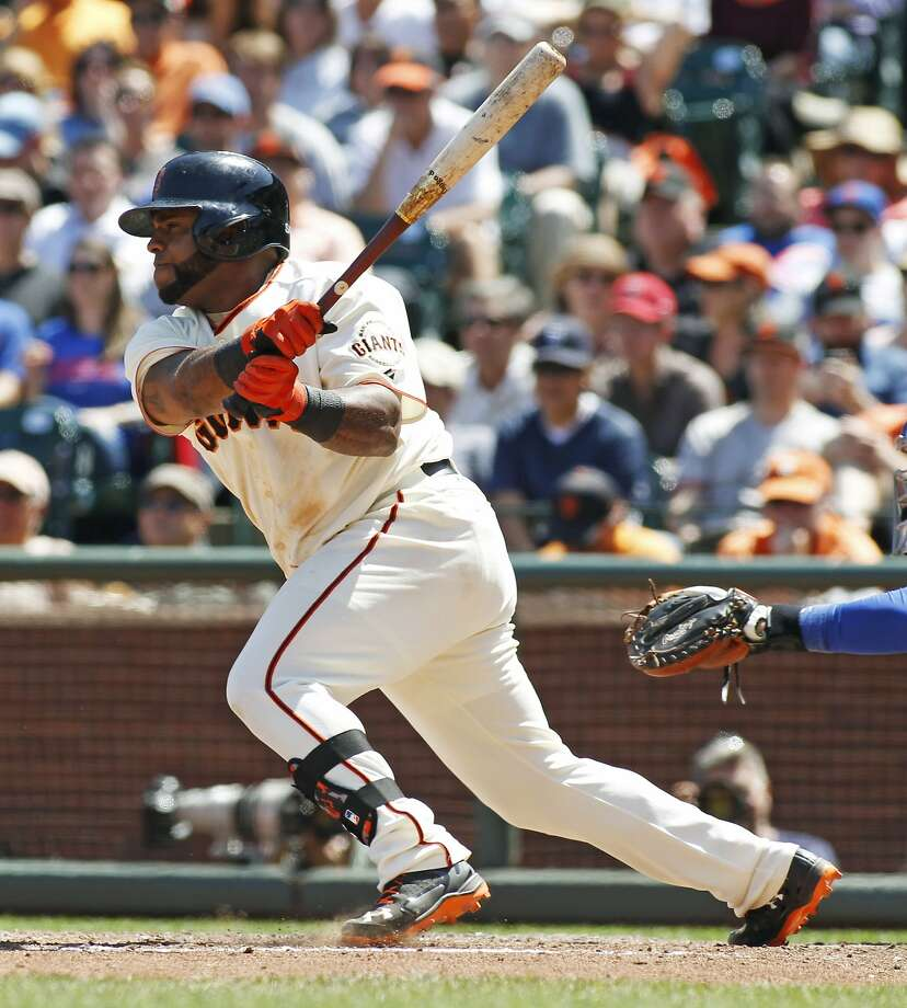 Pablo Sandoval knocked in the Giants' first run in the sixth inning. The third baseman has an eight-game RBI streak. Photo: George Nikitin, Associated Press