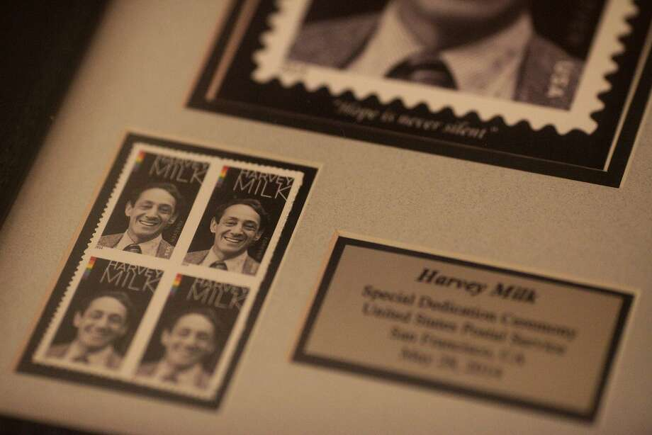 The Harvey Milk stamps feature the slain city supervisor and a rainbow flag bar. Photo: James Tensuan, The Chronicle