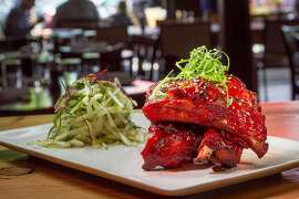 The BBQ Baby Back Ribs at Cooperage restaurant in Lafayette, Calif., are seen on May 24th, 2014.