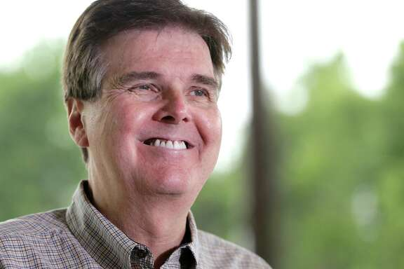 File - In this May 27, 2014 file photo, Republican Dan Patrick smiles as he faces the media at a polling place on election day, in Houston. Patrick's victory Tuesday in the Republican primary for lieutenant governor_an especially powerful position in Texas _ over 11-year incumbent David Dewhurst should not only push a deeply red state even farther to the right but could signal the second coming of Cruz. (AP Photo/Pat Sullivan, File)