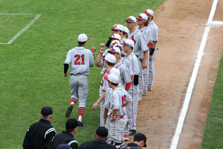 Members of the Greenwich High School baseball team take the field during introductions during Wednesday afternoon FCIAC Semi-Finals against Trumbull High School at Harbor Yard in Brideport. Trumbull would win 5-4. Photo: Mike Ross / Mike Ross Connecticut Post freelance -www.mikerossphoto.com