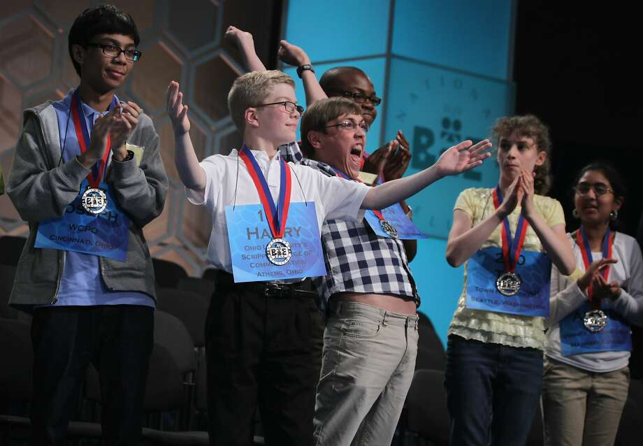 Competitors celebrate making the semifinals of the Scripps National Spelling Bee in Maryland. Photo: Alex Wong, Getty Images