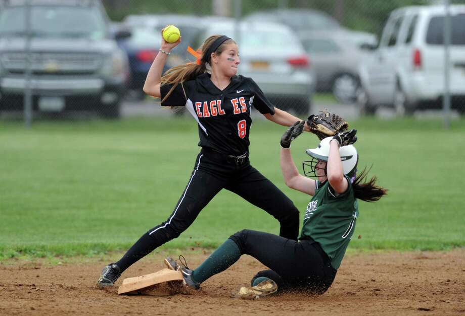 Bethlehem's Brooke Corbett turns a double play during their Section II Class AA softball semifinals against Shenendehowa on Wednesday May 28, 2014 in Colonie, N.Y. (Michael P. Farrell/Times Union) Photo: Michael P. Farrell / 00027072A